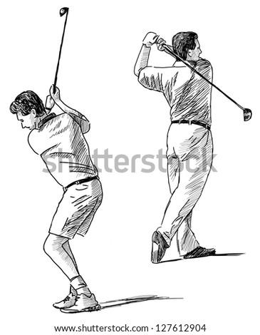 golf players - stock photo