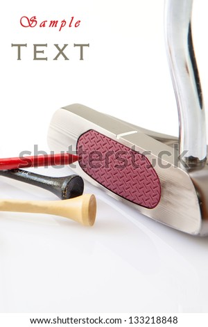 Golf putt and colored sticks on  white background - stock photo