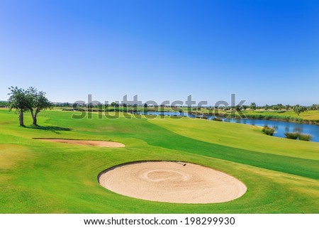 Golf resort with the scenery of the sea. Summer vacation. - stock photo