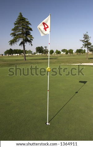 golf scenic of flag - stock photo