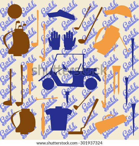 Golf sport items silhouette icon set.  Driver, wood, iron, wedge, putter golf clubs and cart . Tee, ball and glove.  Raster illustration. Raster copy of previously submitted image. - stock photo