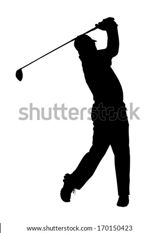 golf sport silhouette golfer finished hitting tee shot