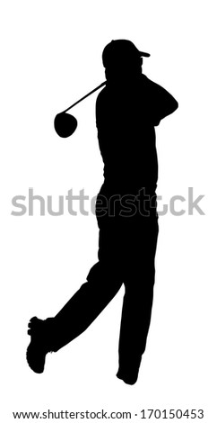 Golf Sport Silhouette �¢?? Golfer finished hitting Tee-shot