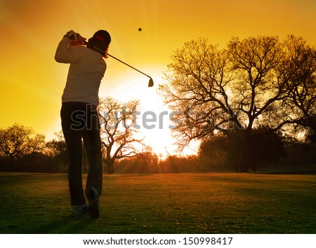 golf sunset