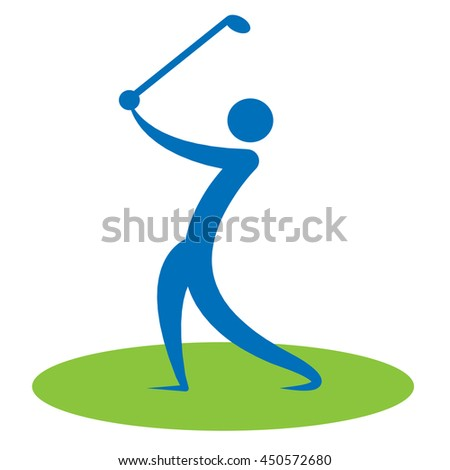 Golf Swing Man Showing Swinging Golf-Club And Person