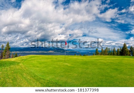 Golf Tee at Kelowna Lakeshore Road Okanagan Valley BC Canada - stock photo