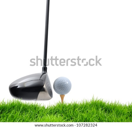 golf tee off on white background - stock photo