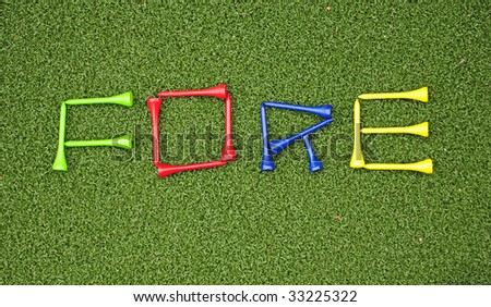 golf tees spell out fore - stock photo