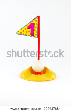 Golf Toys  on white and  hold number one - stock photo