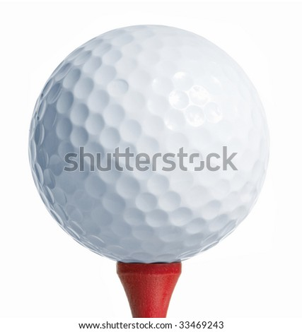 Golfball on a red tee. white background