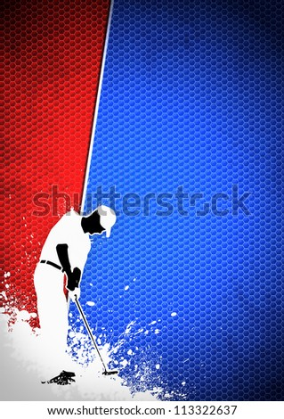 Golfclub poster: Man golf swing poster background with space