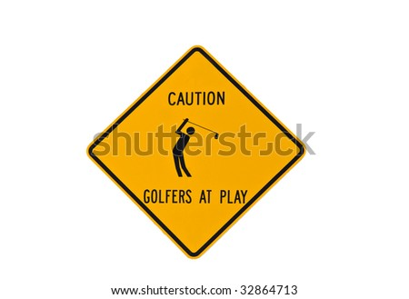 golfer at play sign isolated - stock photo