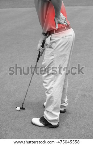 Golfer Back pain, muscle injury concept. black and white and red color for show position of pain.