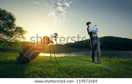 golfer bounce breaks the monitor - stock photo