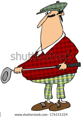 Golfer in a plaid outfit - stock photo