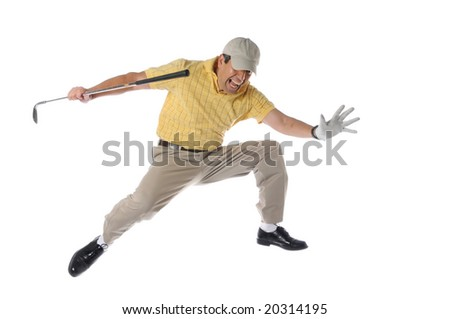 golfer jumping and celebrating isolated on a white background - stock photo