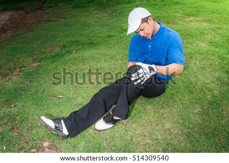 Golfer leg pain and knee pain during the game, muscle injury concept.
