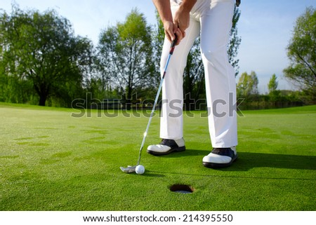 Golfer on course - stock photo