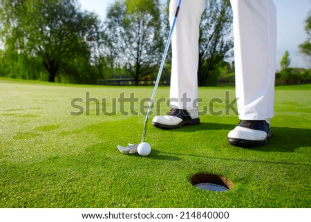 Golfer on the hole II - stock photo