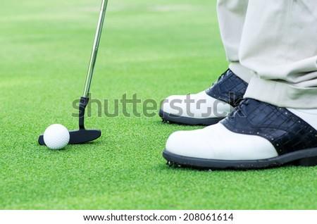 Golfer putting golf ball - stock photo