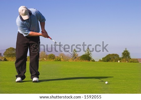 Golfer putting on the green. Golf ball in motion. Copy space. - stock photo