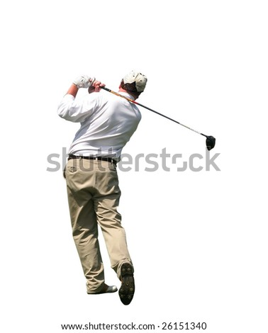 golfer swinging with clipping path
