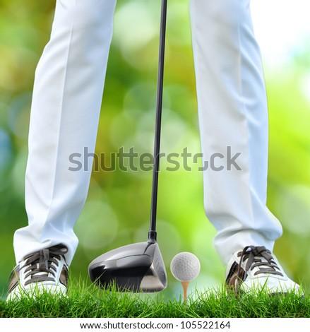 golfer tee off - stock photo