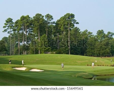 Golfers on a beautiful  golf course in Myrtle Beach, South Carolina. - stock photo