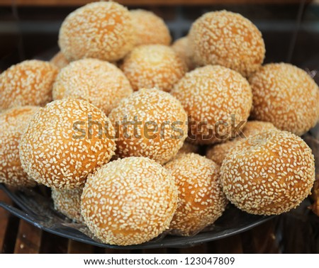 Goma dango japanese sesame dumplings pastry stock photo image goma dango japanese sesame dumplings pastry made from glutinous rice flour in ccuart Images