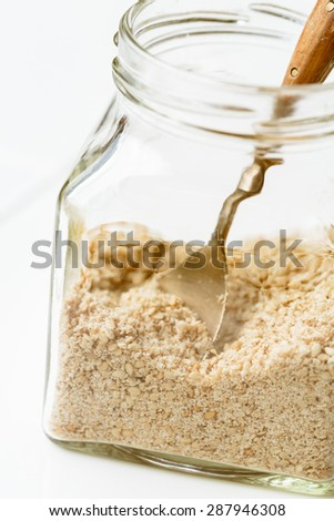 Gomasio (mixture of sesame and sea salt from Japan) - stock photo