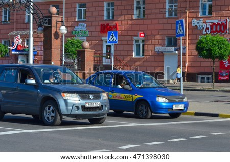 Gomel, Belarus - August 20, 2016: Cars stopped at the stop line
