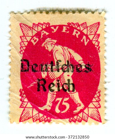 GOMEL,BELARUS - CIRCA FEBRUARY 2016: A stamp printed in Germany shows image of the Germany sower, circa 1933. - stock photo