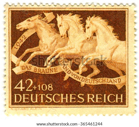 GOMEL,BELARUS - JANUARY 2016: A stamp printed in Germany shows image of The Brown band of Germany, circa 1942. - stock photo