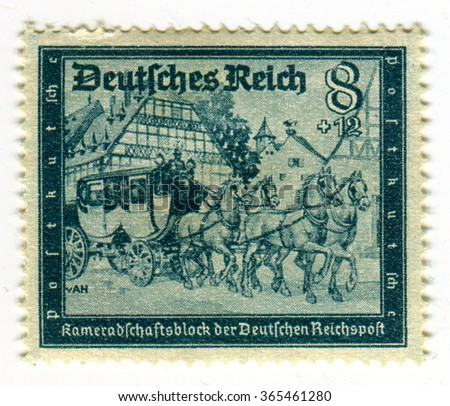 GOMEL,BELARUS - JANUARY 2016: A stamp printed in Germany shows image of the German coach, circa 1942. - stock photo