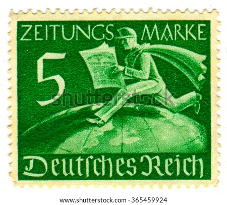 GOMEL,BELARUS - JANUARY 2016: A stamp printed in Germany shows image of the German newspaper, circa 1942. - stock photo
