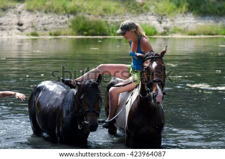 GOMEL, BELARUS - JUNE 24, 2013: Woman bathe horses on a hot summer day.
