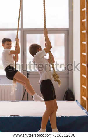 Gomel, Belarus - 12 November 2016: Sports competitions in acrobatics among boys and girls born in 2005-2006.