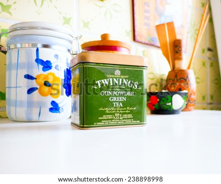 GOMEL, BELARUS - SEPTEMBER 24, 2014: Twinings Tea Gunpowder Green Tea. Twinings holds the world's oldest continually-used company logo.  - stock photo