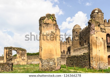 Gondar, Ethiopia. Old imperial capital and capital of the historic Begemder Province. Fasilides Castle, founded by Emperor Fasilides. - stock photo