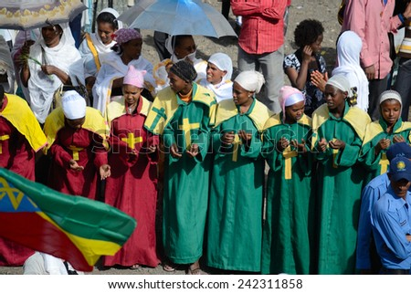 Gonder, Ethiopia - January 19, 2012: group of unidentified people dressed in traditional attire during the Timkat holiday, the important Ethiopian Orthodox celebration of Epiphany.