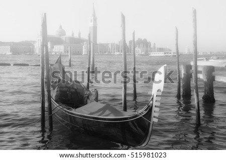 Gondola in the canal with mist, in Venice,Italy