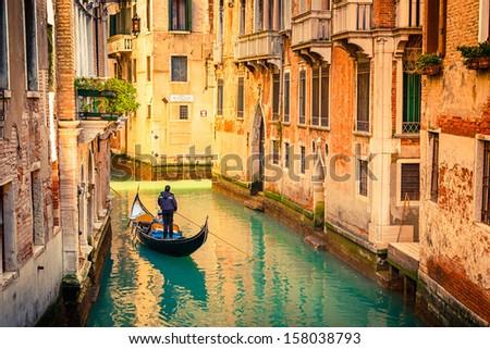 stock photo gondola on canal in venice italy 158038793 - Каталог — Фотообои «Венеция»