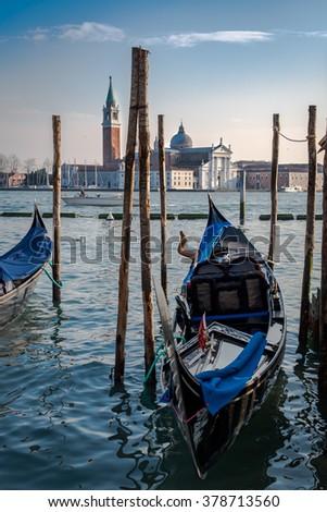 Gondola,parked at the Grand Canal, Venice, Italy - stock photo