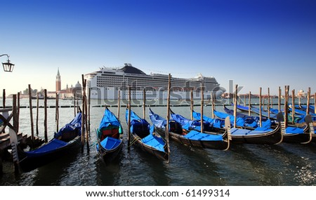 gondola parking background of Cruise ship, venice Italy - stock photo