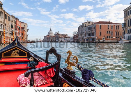 Gondola trip on the Grand Canal, Venice - stock photo