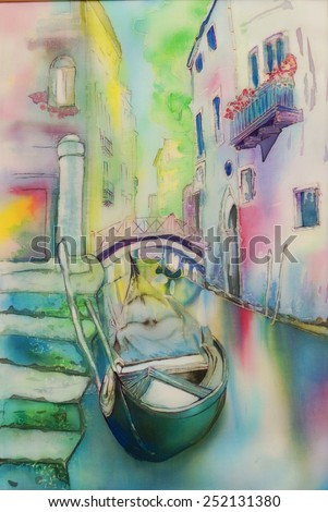 Gondola, Venice, Italy- an original modern batik, painting on silk - stock photo
