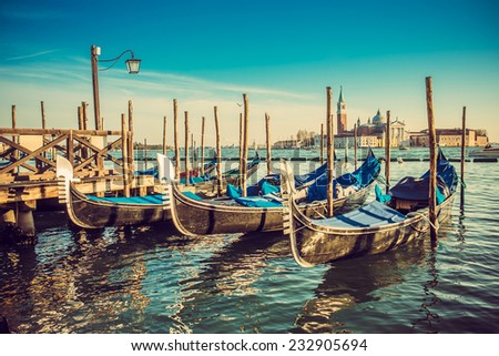 Gondolas at the Piazza San Marco, Venice, Italy.