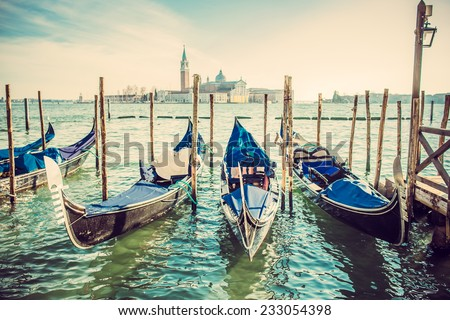 Gondolas at the Piazza San Marco, Venice, Italy. - stock photo