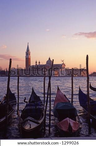 Gondolas by Saint Georgio - stock photo