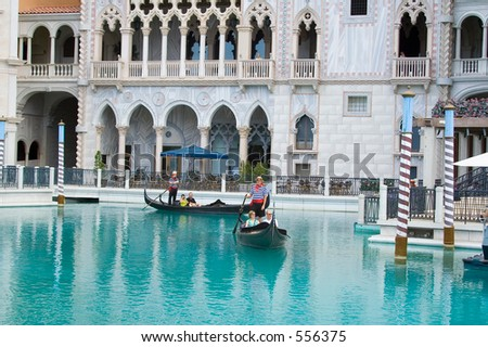 Gondolas in front of the Doge Palace, Venetian Resort, Las Vegas USA (exclusive at shutterstock)